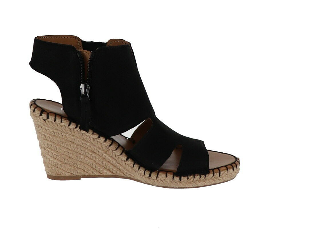 Franco Sarto Leather Cut-out Espadrille Wedges Nola Black 6M NEW A288518 image 3