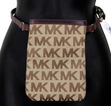Michael Kors MK Women's Cut Out Leather Canvas Purse Belt Fanny Pack Bag 551501 image 8