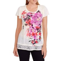 Faded Glory Women's Knit Top Crochet-Lace Floral Tusk SIZE M  - $39.97