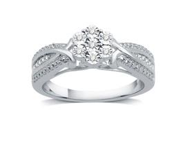 Diamond Blossom Womens Genuine White Diamond Sterling Silver Cocktail Ring - $99.00
