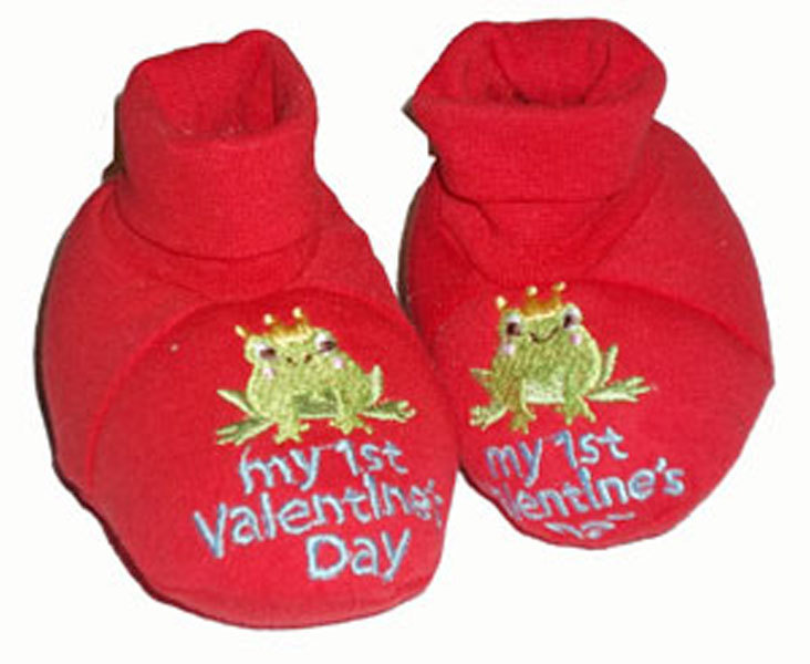"Primary image for Girls ""My 1st Valentines Day"" Embroidered Booties 0-9 Months"