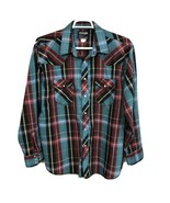 Wrangler Vtg Western Shirt Size 18-36 X-Long Tails Purple Red Green Pear... - £14.36 GBP