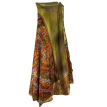 Women's Dance Skirt Silky Wrap Around Ruffle Midi Orange Golds Size Small - $19.64