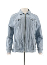 Denim& Co Comfy Knit Denim Zip-Front Jean Jacket Bleach Wash L NEW A349249 - $32.65
