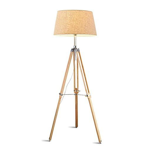 Modern Wooden Tripod Floor Lamp Light With Body Can Be Adjusted And Fabric Lamps - $484.11