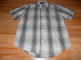 Boy's Size Small 6-7 Cherokee Brown Green Plaid Button Front Shirt Top Eagle EUC - $14.00