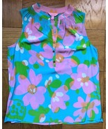 NEW Sz S Lilly Pulitzer 'Mojo' Shorely Blue Houston Silk Top Shirt Blous... - $49.49