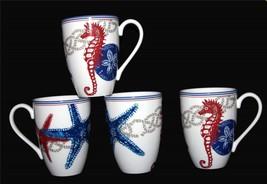 4 Lenox OCEANSIDE Starfish Seahorse Nautical Red Blue Grey Tall 16 Oz Mugs NWT - $79.99