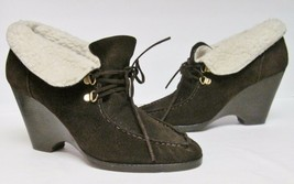 Michael Kors Ankle Boots Suede Leather Wedge Sheepskin Shearling Brown 11 M - $29.82