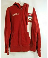 Roots Canada Red Hoodie Mens Full Zip Sweatshirt Excellent Large Maple L... - $38.52