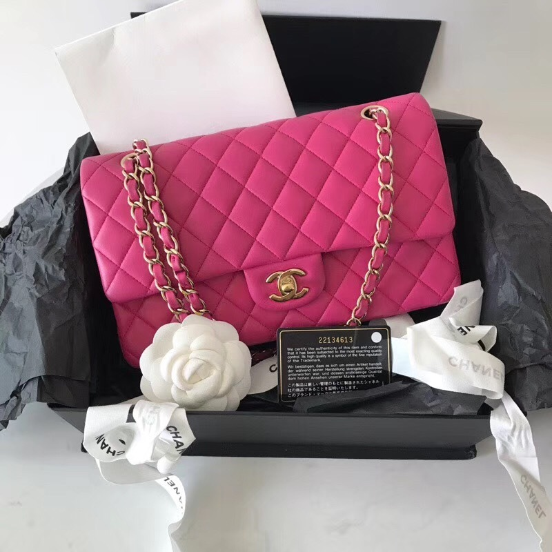 AUTHENTIC CHANEL FUCHSIA PINK LAMBSKIN MEDIUM DOUBLE FLAP BAG GOLD HW RARE