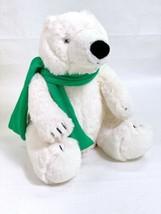 "Bath & Body Works 10"" White Polar Bear With Green Knit Scarf Stuffed Plush  - $9.79"