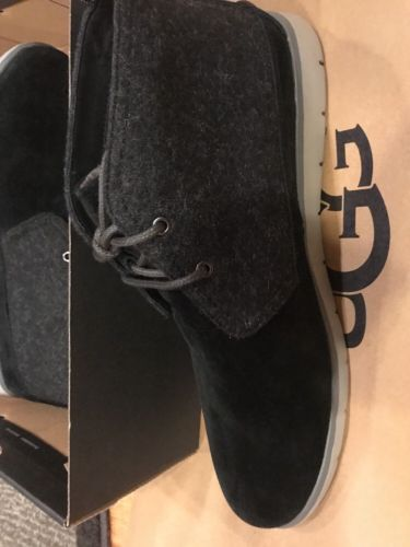 New UGG 1018442 FREAMON ANKLE BOOTS  LIGHTWEIGHT BLACK SUEDE/WOOL US SIZE 12