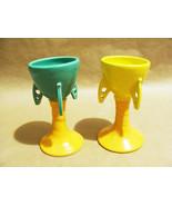 """Vintage Spaceship Rocket Atomic Sci-fi Ceramic Goblet Cup Mugs (2) """"K"""" M... - $39.99"""