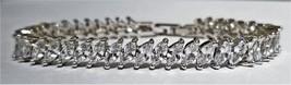 Tennis Bracelet In Genuine Rhodium Plating With Round Cut Zirconia Crystals In D - $17.82