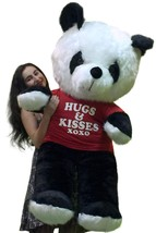 American Made Giant Stuffed Panda Soft Huge 54 Inches Wears HUGS AND KIS... - $132.10