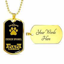 Dog Lover Gift Cocker Spaniel Dad Dog Necklace Engraved 18k Gold Dog Tag... - $60.34
