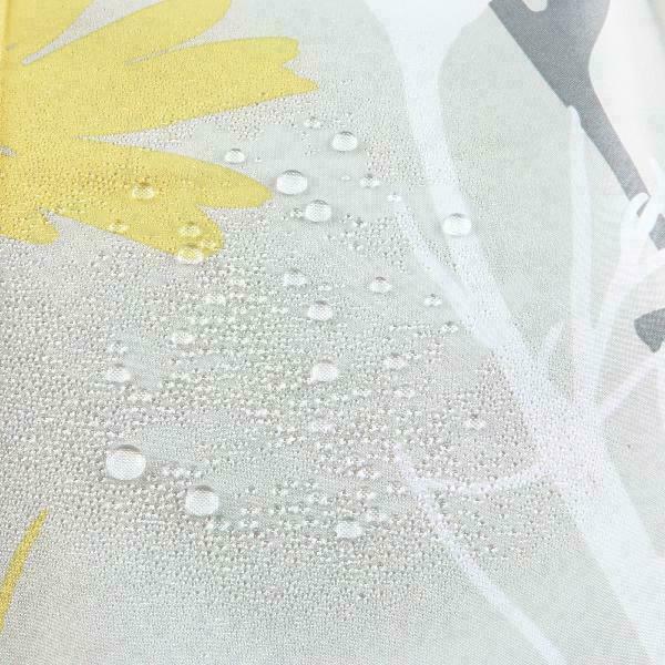"Interdesign Daizy Fabric Shower Curtain, Standard 72"" X 72"", Gray/Yellow"