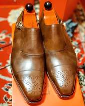 Handmade Men's Brown Leather Heart Medallion Monk Strap Oxford Leather Shoes image 6