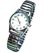 ELASTIC EXTENS.BAND WATCH-SILVER COLOURED -MED.WHITE DIAL - $11.99