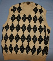 Tasso Elba Golf Sz XL Argyle Jersey Knit Vest Cotton Light Weight - $485,31 MXN