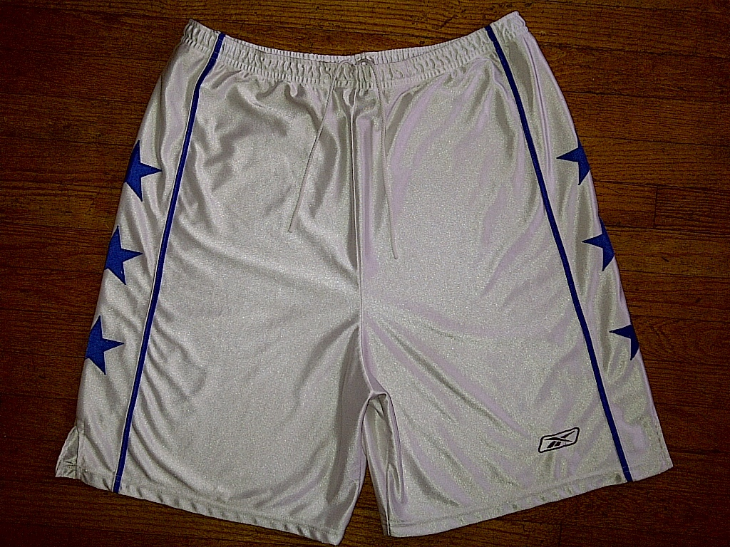 Primary image for Reebok White Blue All-Star STARS Baggy Thick Silver Basketball Shorts 3xl XXXL