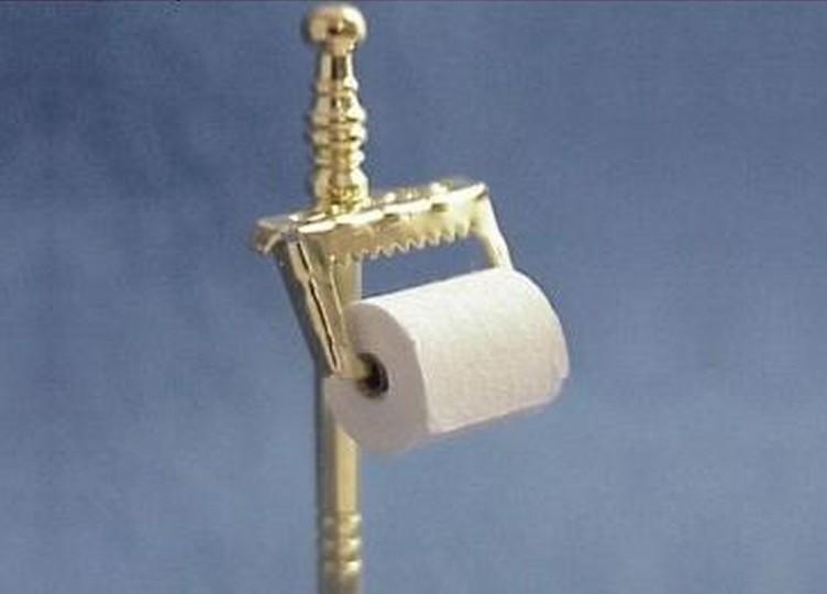 Reutter toilet paper tissue in brass stand holder gemjanes dollhouse miniatures