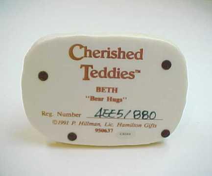 """1991 Cherished Teddies BETH """"Bear Hugs"""" Bear Figurine"""