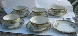 NIPPON 5 cups 6 saucers marked NIPPON handpainted, very beautiful and delicate - $24.74