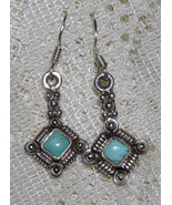 Turquoise and Sterling Silver Dangle Earrings - $10.00
