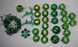 Green Christmas Tree Decorations LOT Ornaments Garland Balls Snowflake R... - $13.32