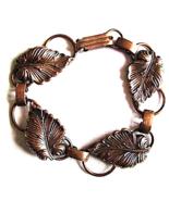 Vintage Arts and Crafts Style Hand Wrought Leaf Copper Bracelet 1970s - $20.00