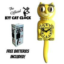 """MAJESTIC YELLOW LADY Kit Cat CLOCK 15.5"""" Free Battery USA MADE Kit-Cat K... - £48.99 GBP"""