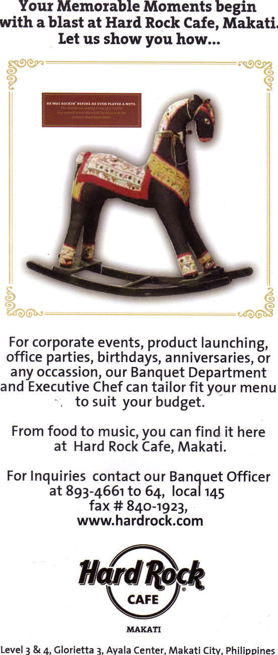 Hard Rock Cafe Makati, Philippines Flyer