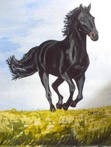 Stately Black Stallion Horse Running Over Meadow Nature Painting - $24.95