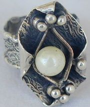 White pearl hand made ring PL1 - $38.00