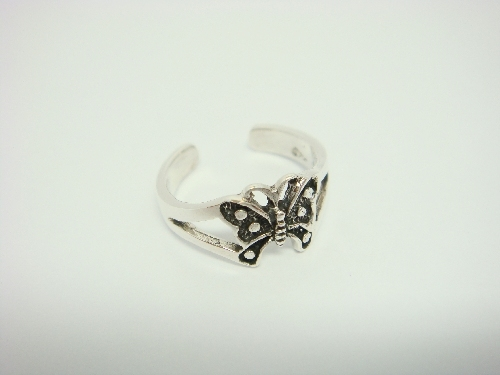 Sterling Silver Butterfly Oxidized Adjustable Toe Ring