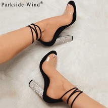 Wind Lace Crystal Heels High Women Clear Gladiator Up Transpar Parkside Sandals a1qTHww