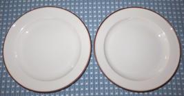 "DANSK EPOCH Brown Trim Set of Two 8"" Salad/ Luncheon Plates Norway Exc C... - $12.99"