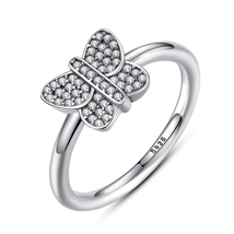 Butterfly Style Wedding Anniversary Ring 14k White GP 925 Silver W/ Roun... - $75.55