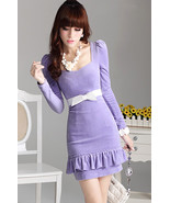Feminine Light Purple Velvet Mermaid Dress. Sli... - $88.50