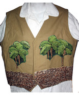 Brown Vest with palm trees and stone wall - size 18 - $30.00