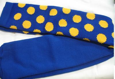 BLUE with GOLD DOTS CLOWN SPORTS SOCKS OVER KNEE