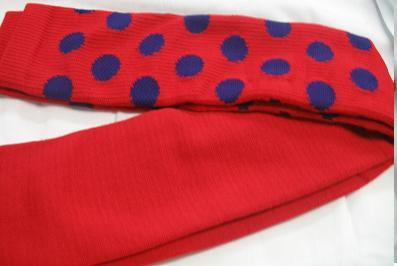 RED with PURPLE DOTS CLOWN SOCKS OVER KNEE SPORTS STYLE