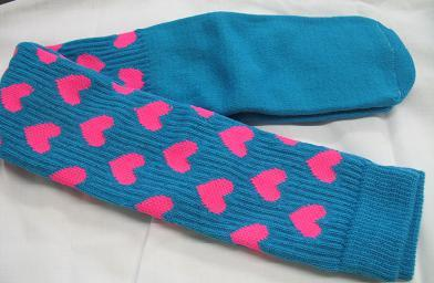 TURQUOISE with PINK HEARTS CLOWN SOCKS OVER KNEE