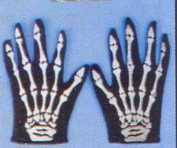 SKELETON CLOTH GLOVES ADULT SIZE - $4.00