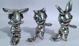 "Cherri Polly (Baketan) ""Brushed Silver"" Set of Cat, Rabbit, Fox Girls RARE and L image 4"