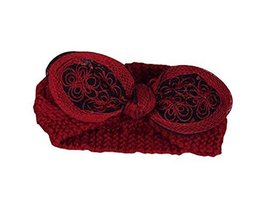 Bordeaux RED Beautiful Bowknot Hair Band Soft Wool Knitted Headband