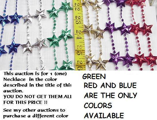 GREEN STAR NECKLACE MARDI GRAS BEADS