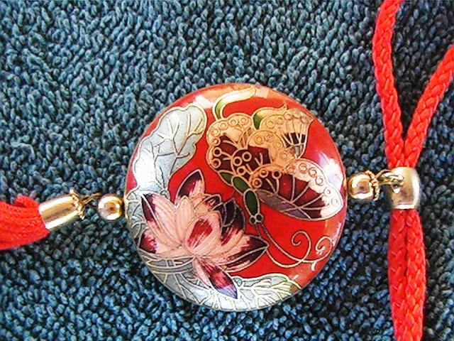 Vintage butterfly painted enamel pendant with cord necklace